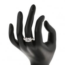 Zaręczynowy pierścionek ze srebra 925, okrągła cyrkonia bezbarwnego koloru, błyszczące pasy