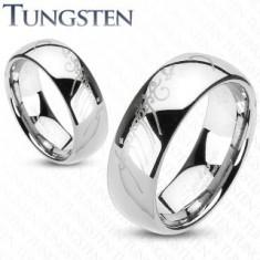 Tungsten obrączka srebrnego koloru, motyw Władcy Pierścieni, 6 mm