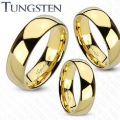 Pierścionek z wolframu złotego koloru, zaokrąglona i gładka powierzchnia, lustrzany połysk, 8 mm