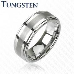 Pierścionek Tungsten w ciemnoszarym lśniącym odcieniu, wyszlifowany środkowy pas, 8 mm