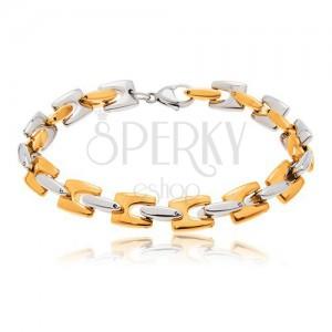 Stalowa bransoletka, lśniące ogniwa H złotego i srebrnego koloru