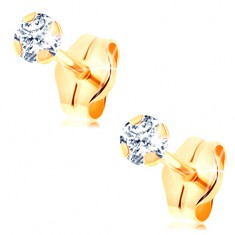 Złote kolczyki wkręty 585 - przezroczysta okrągła cyrkonia z czterema pałeczkami, 3 mm