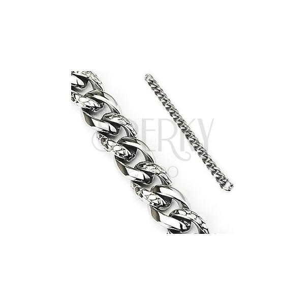 Stalowa bransoletka - gruby łańcuszek ozdobiony wzorem skóry węża, srebrny kolor