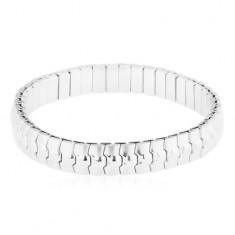 Elastyczna stalowa bransoletka srebrnego koloru, lśniąco-matowe powycinane ogniwa