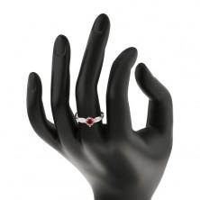 Srebrny pierścionek 925, okrągła różowa cyrkonia, błyszczące listki na bokach