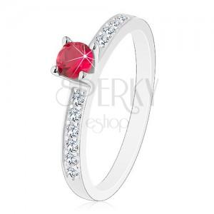 2148ed81359310 Srebrny 925 pierścionek - ozdobione błyszczące ramiona, różowo-czerwona  cyrkonia