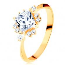 Złoty pierścionek 585 - błyszczący wyszlifowany kwadrat, drobne cyrkonie bezbarwnego koloru