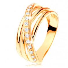 Pierścionek z żółtego 14K złota - trzy gładkie pasy, ukośna cyrkoniowa linia