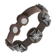 Czarna bransoletka z syntetycznej skóry, stalowe maltańskie krzyże z patyną
