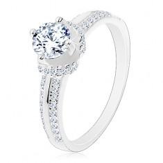 Zaręczynowy pierścionek, srebro 925, cienkie cyrkoniowe pasy, okrągła cyrkonia