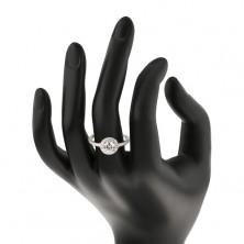 Srebrny 925 pierścionek, przezroczysta okrągła cyrkonia w przezroczystej oprawie, ozdobione ramiona