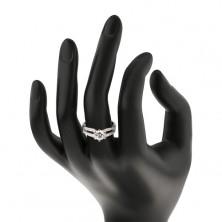 Zaręczynowy pierścionek, srebro 925, wycięcia na błyszczących ramionach, przezroczysta cyrkonia