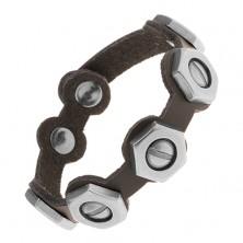 Regulowana czarna bransoletka ze sztucznej skóry, stalowe śrubki z nakrętkami