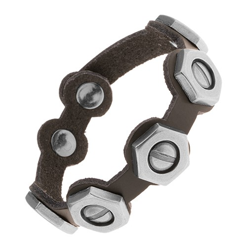 Regulowana czarna bransoletka ze sztucznej skóry stalowe śrubki z nakrętkami