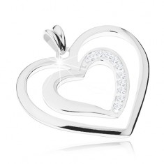 Rodowana zawieszka ze srebra 925, dwa sercowe zarysy, przezroczyste cyrkonie