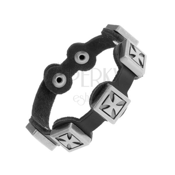 Czarna bransoletka z syntetycznej skóry, patynowane maltańskie krzyże ze stali