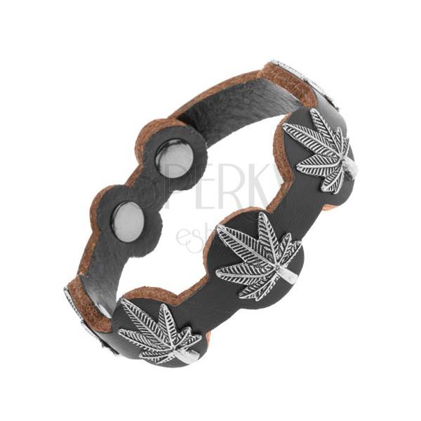 Skórzana bransoletka czarnego koloru, patynowane liście marihuany ze stali