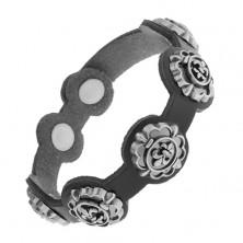 Bransoletka z czarnej syntetycznej, patynowane symbole Fleur de Lis