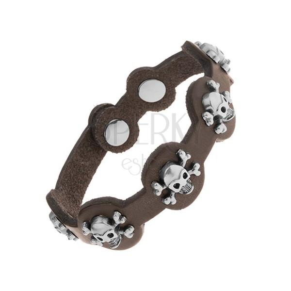 Brązowo-czarna bransoletka ze sztucznej skóry, stalowe czaszki z kośćmi, czarna patyna