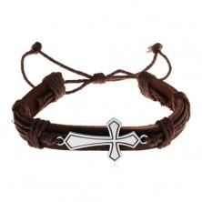 Bransoletka z ciemnobrązowej sztucznej skóry i sznurków, duży lśniący krzyż, patyna