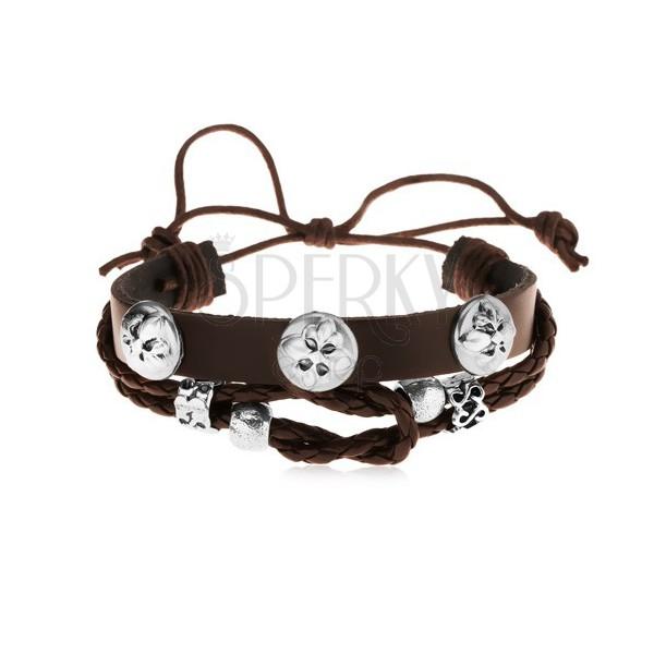 Skórzana bransoletka ciemnobrązowego koloru ze stalowymi ozdobami, krzyże liliowe