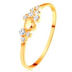 Pierścionek z żółtego 14K złota - drobne przezroczyste cyrkonie i lśniące wypukłe serduszko