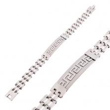 Bransoletka ze stali chirurgicznej kolor srebrny, matowy znak z greckim kluczem