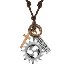 Skórzany naszyjnik, zawieszki - tribal, kółka, krzyż i płytka
