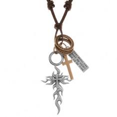 Naszyjnik - sznurek ze sztucznej skóry, duży i mały krzyż, kółka