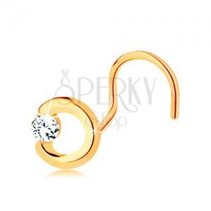 Złoty piercing do nosa 585 - niepełny zarys koła z przezroczystą cyrkonią, zagięty kształt