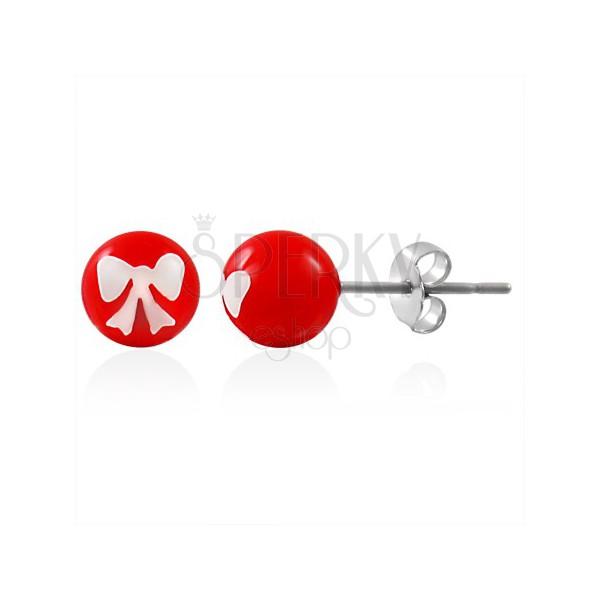 Stalowe kolczyki, czerwona kuleczka z białą kokardką, zapięcie na sztyft