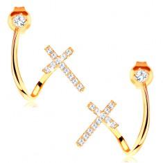 Kolczyki z żółtego 14K złota - lśniąca zagięta linia, cyrkonia i błyszczący krzyżyk