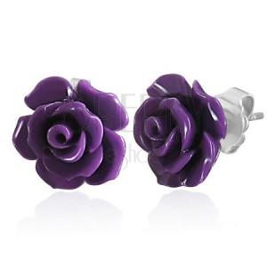 Kolczyki ze stali 316L, mała fioletowa róża, wkręty