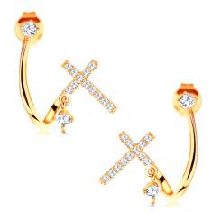 Złote kolczyki 585 - lśniąca zagięta linia, błyszczący krzyżyk i przezroczyste cyrkonie