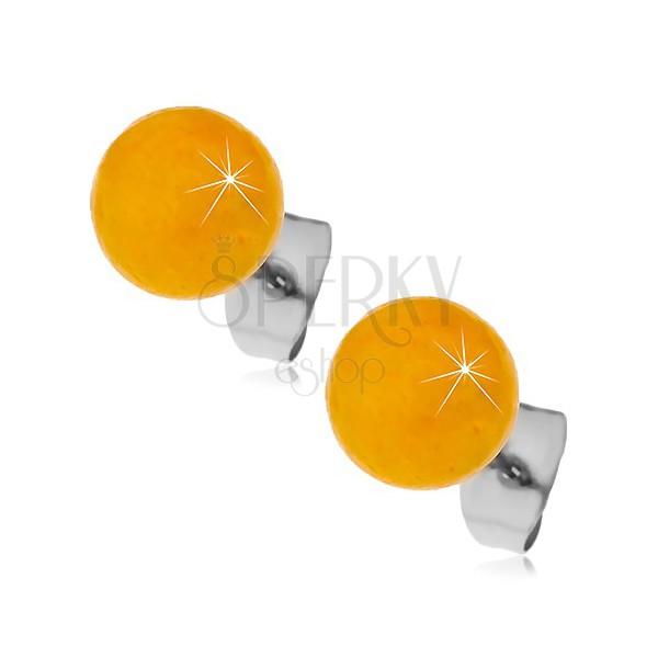 Stalowe kolczyki wkręty, żółto-pomarańczowe kuleczki, 8 mm