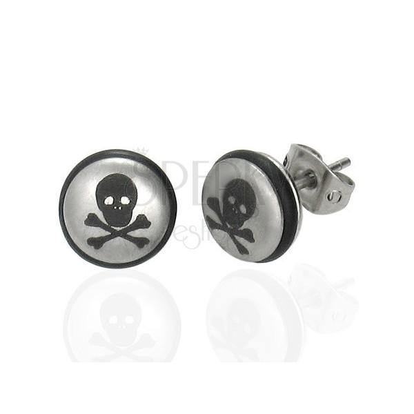 Stalowe kolczyki srebrnego koloru, kuleczka z czaszką i czarną gumeczką