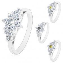 Pierścionek srebrnego koloru, błyszczący cyrkoniowy kwiatek z barwnym środkiem