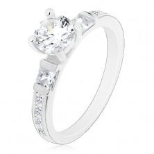 Zaręczynowy pierścionek, srebro 925, duża okrągła cyrkonia, błyszczące ramiona