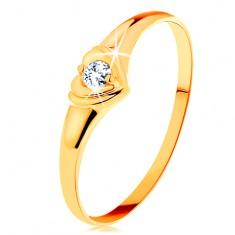 Złoty pierścionek 585 - błyszczące serduszko z osadzoną okrągłą cyrkonią