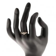 Pierścionek z żółtego złota 585 - wystający cyrkoniowy prostokąt, gładkie ramiona
