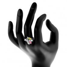 Pierścionek srebrnego koloru, dwie barwne ziarnkowe cyrkonie, przezroczyste łuki