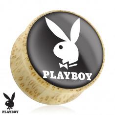 Siodłowy plug do ucha z naturalnego drewna, zajączek Playboy, czarne tło