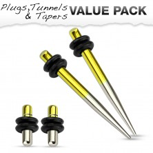 Zestaw czterech stalowych piercingów do ucha, żółty i srebrny kolor