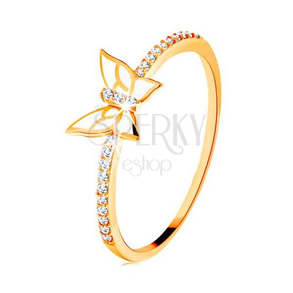 Pierścionek z żółtego 14K złota - błyszczące pasy, biały emaliowany motyl