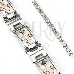 Stalowa bransoletka srebrnego koloru z liliowym krzyżem w złotym odcieniu