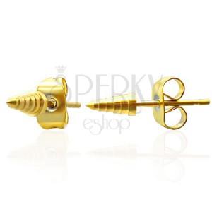Kolczyki ze stali - złote szpice