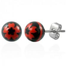 Stalowe kolczyki czarne kuleczki - znak czerwony kwiat