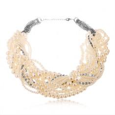 Masywny naszyjnik z białych perełek różnych rozmiarów i bezbarwnych cyrkonii