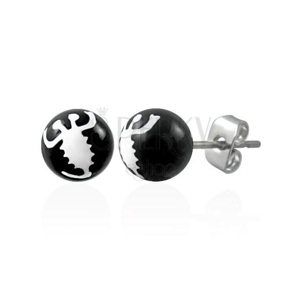 Czarne kolczyki ze stali - biały skorpion