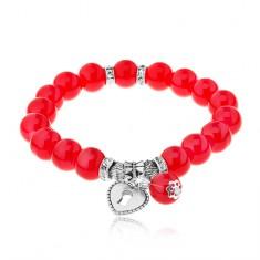 Elastyczna bransoletka z lśniących czerwonych kuleczek, stalowe koraliki, serce-kłódka